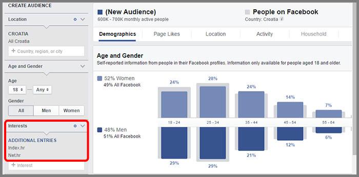 Facebook oglasavanje audience insights